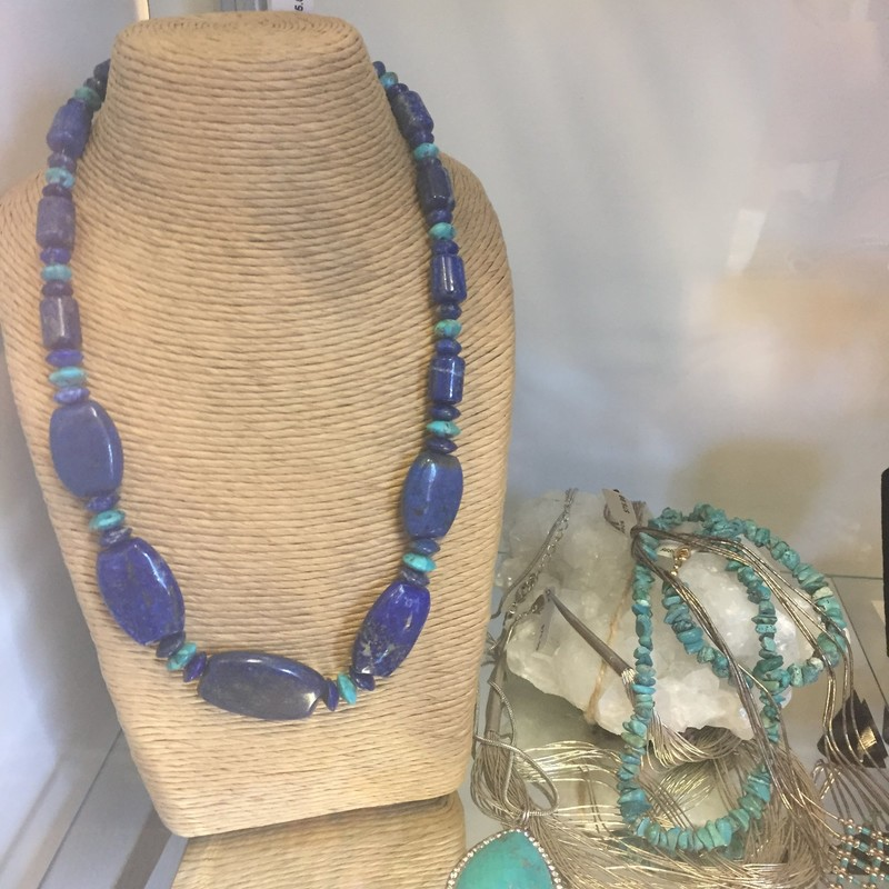 Lapis Turquoise Sterling Necklace. Stunning piece measures 20 inches.