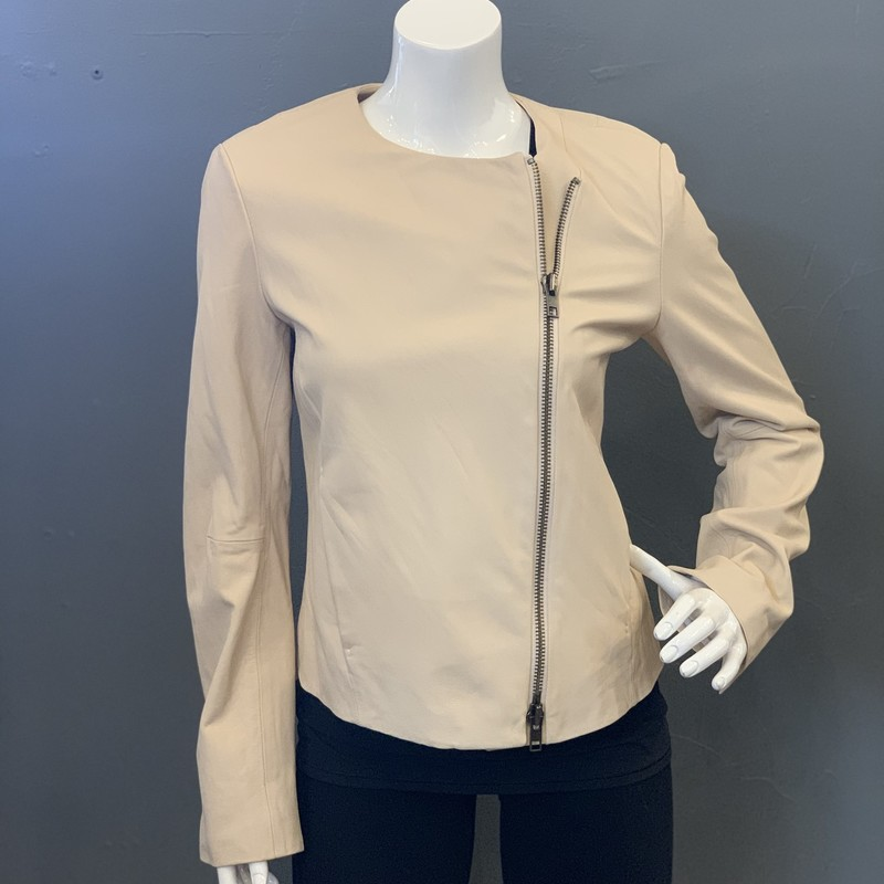 Vince asymetrical zip Leather , Cream, Size: Medium<br /> new with tags retail cost $995.00