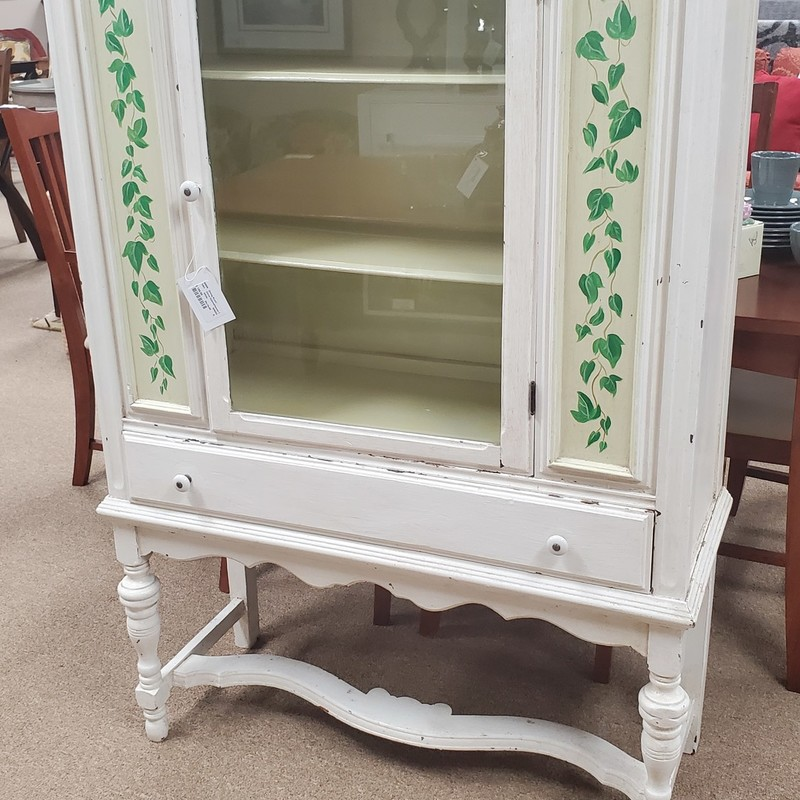 China Cabinet/leaves Deco, White, Size: 38x15x58