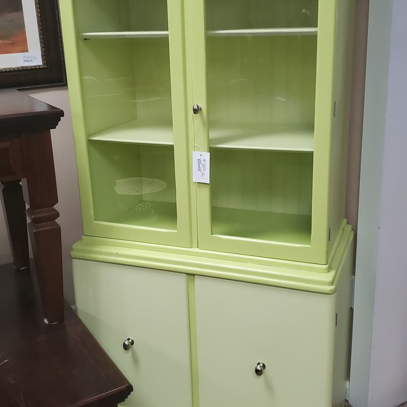 Painted China Hutch, Green, Size: 31x40x64