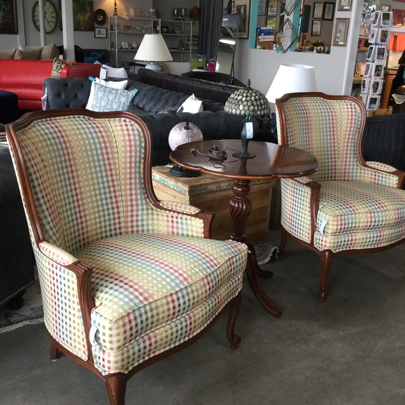 "Ethan Allen Custom Armchair, Checked, Colorful, Size: 29""X37""X38"""