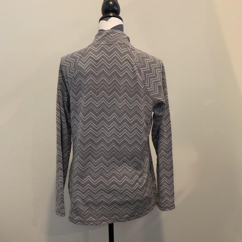 Eddie Bauer Chevron 1/4zip<br /> Size: XL<br /> Color: Two-tone Grey<br /> 55% Cotton/ 45% Polyester<br /> Small zip-up pocket on back of left hip<br /> Machine wash cold/ Tumble dry low<br /> * Great layer for wearing alone or paired with a base layer to keep you warm!