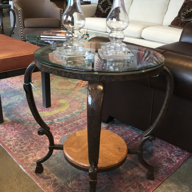 "Round Glass Top Table, Wood Frame, Marble, 2 Available, Size: 22"" x 27"""