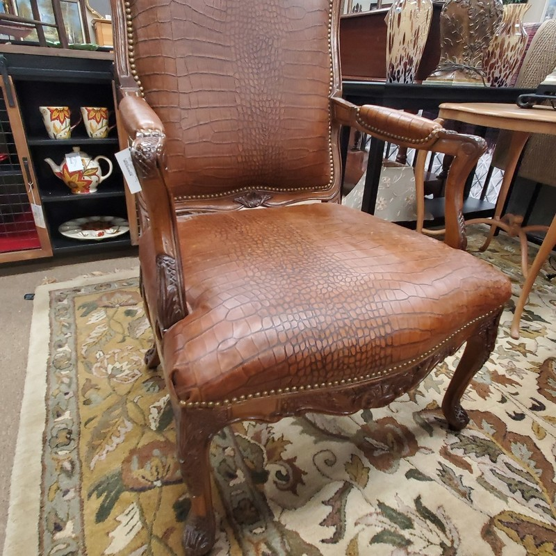Leather Armchair, None, Size: None