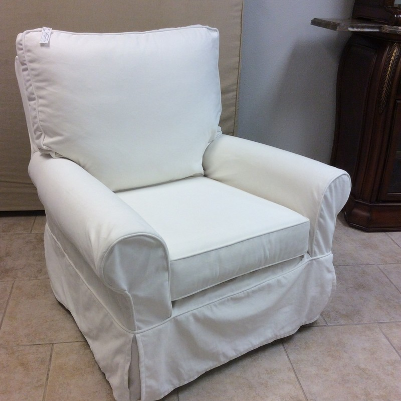 This rocker by Pottery Barn is super nice! Slipcovered in a pristeen vanilla that is as soft and smooth as butter! Best of all, it swivels too.
