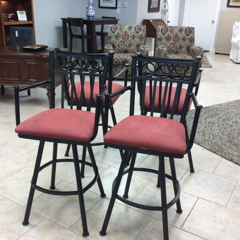 This set of barstools is very nice, a lovely combination of metal and upholstery.The metal frame has been painted a jet black and the seat features a red upholstery. These are well made - solid and sturdy.