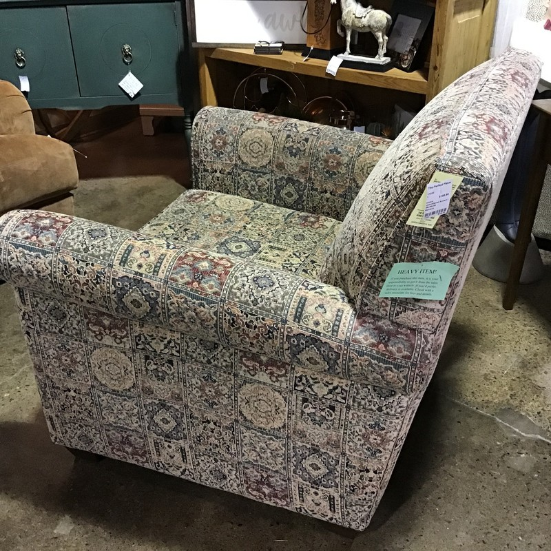"This patterned upholstered accent chair by Bauhaus has a muted palette so it would work in many different rooms! It is very comfortable and has a flippable bottom cushion.<br /> Dimensions are 36"" x 36"" x 34"""