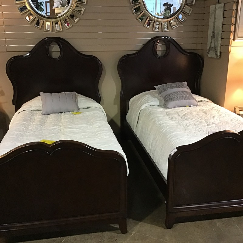 "Look no further for the if you need a pair of really nice twin bed sets (headboard, footboard, side rails and slats) to update the look and feel of your bedroom. This arched panel with keyhole headboard/footboard pair measures 46""W x 80""L x 56""H.  The 7 drawer long dresser measures 58"" x 17"" x 34.5"" and has a removeable mirror (40"" x 40"") with the same keyhole at the top as the headboards.  The matching 1 drawer oval nitestand measures 26"" x 21"" x 27"".  All pieces are finished in a dark expresso stain and have silver oval handles."