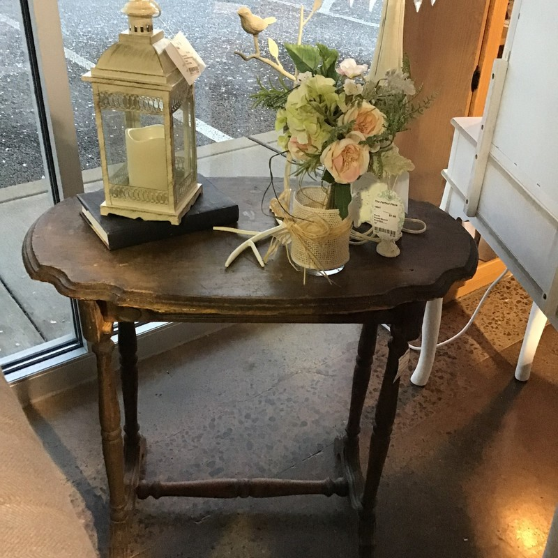 "Are you looking to add a character piece to your home? This vintage spool cotton table might just be what you are looking for! It is a very cool accent table that could be used anywhere in your home. We love the character of this piece!<br /> Dimensions are 31"" x 19"" x 28"""