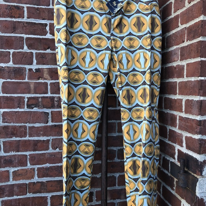 Tyler Boe,in a gold, brown and light blue print.  NWT orig $148 Size: 10