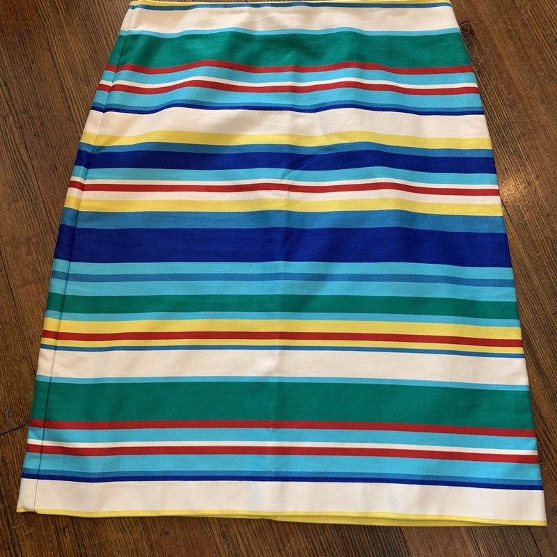 Talbots Stripe Pencil<br /> Multi color stripes- Teal,Green,Blues,Yellow<br /> Size: 8<br /> 100% Cotton<br /> Back zip with hook & eye closure<br /> Machine wash cold Normal cycle<br /> Tumble dry Low<br /> * Beautiful Stripe skirt with a Nautical vibe, pairs perfect with your favorite denim top & flats or just a tank with your favorite cardigan... the possibilities are endless!
