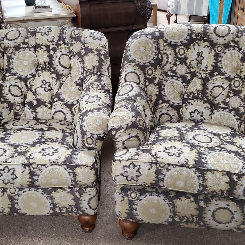 Pair Of Arm Chairs, Yellow/g, Size: None