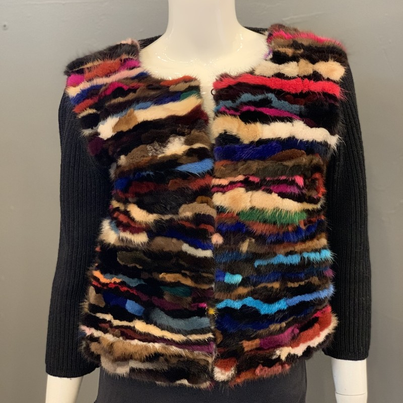 DVF Rainbow Fur Cardi, Blk.Mlti, Size: S<br /> <br /> body: 100% Wool<br /> combo: 100% Dyed Mink Fur<br /> lining: 97% polyester, 3% spandex