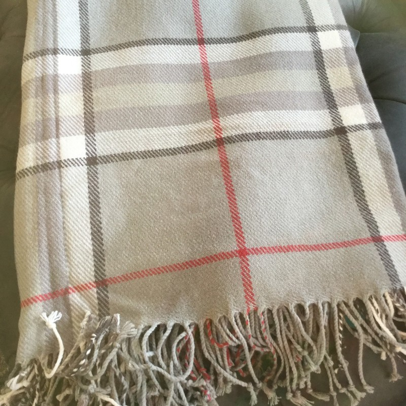 "Wool Throw, Plaid, Size: 50""X60"""
