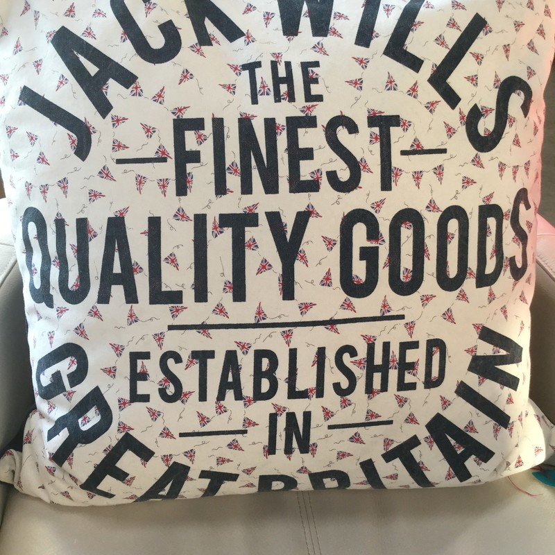 "Jack Willis England Pillow, Red Blue Black, Size: 23""x23"""