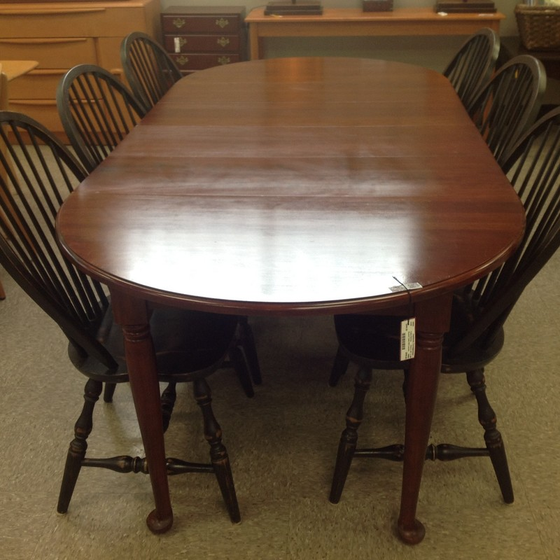 "Round Table W/4 Leaves, Cherry, Size: 42"" To 90"""