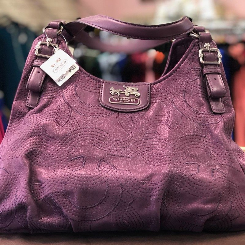 "COACH, Purple, Size: Authentic<br /> <br /> New with tags and dust cover bag, no marks or stains<br /> Description:<br /> Color: Purple<br /> Type of Trim: Leather<br /> Type of Material: Stitched Leather<br /> Color of hardware: Silver tone Hardware<br /> Type of closure: Dual magnetic top snap closures<br /> Type of Handles: Dual flat leather handles with - 10"" drop<br /> 	`"