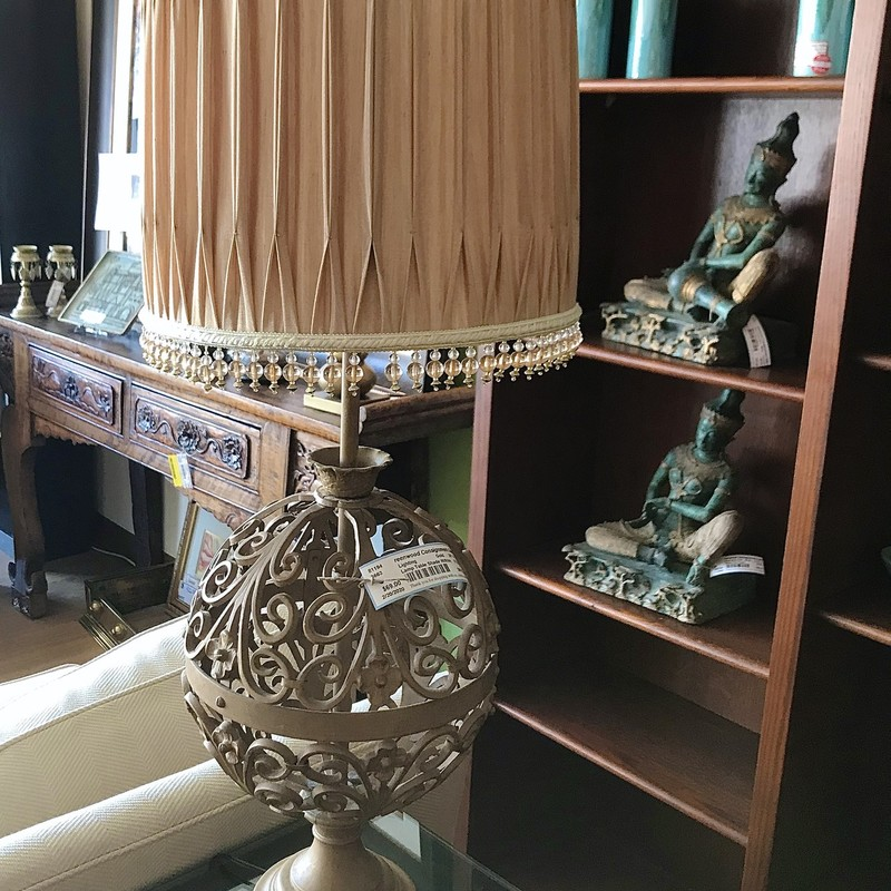 "Lamp Table Shade with ffringe, Gold, Size: 35"" H<br /> Matching Lamp #81194  $69"