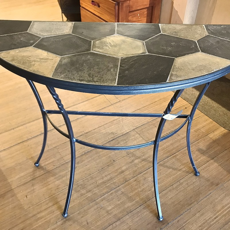 Table 1/2 Moon Iron, Stone Top, Size: 37x15x30
