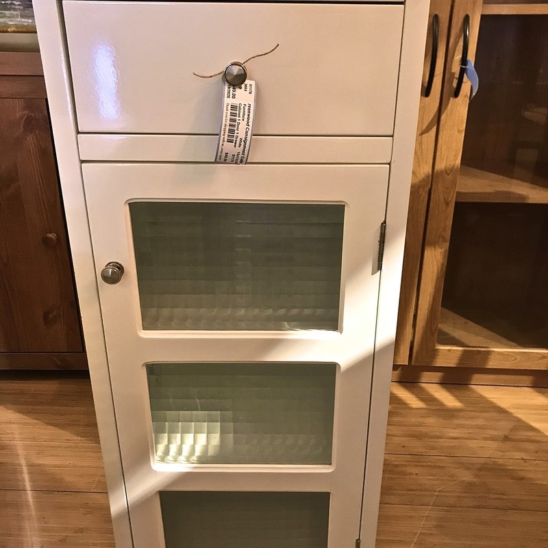 Cabinet 1 Door 1 Drawer, White, Size: 15x14x36