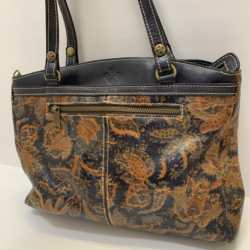 Patricia Nash Floral Tote<br /> Navy & Tan Leather