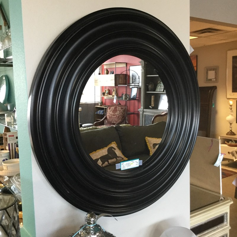 Round Mirror, As Is, Black, Size: 29""