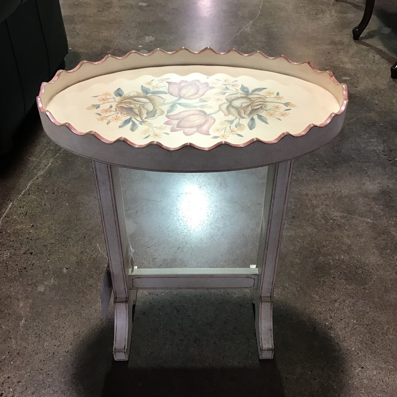 "This cream-based accent table by Ethan Allen was factory painted with a pretty floral pattern. The best thing about this piece is the top comes off and can be used as a tray - great for serving drinks or apps!<br /> Dimensions are 20"" x 13"" x 24"""