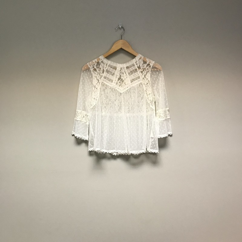 Free People Sheer Lace Top<br /> Size Medium<br /> White<br /> $22.00