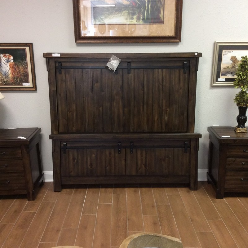 This queen-sized ASHLEY headboard and footboard are both designed like barn doors and appear to be solid wood. The rails are also wood. The 2 nightstands each have 3 drawers, but best of all, they are electric! Each one has 2 electrical outlets and 2 USB ports on the back of the top. Gorgeous!