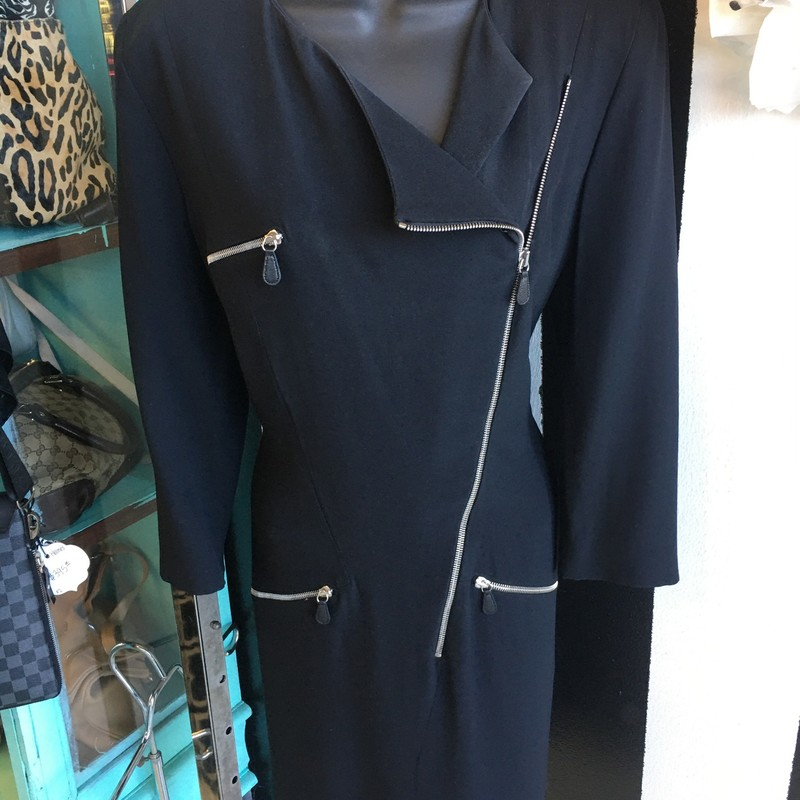 LIKE NEW, gorgeous Alexander McQueen dress. Long sleeve with zip closure and 3 zip pockets. Black acetate/viscose fabric with blue acetate/silk lining. Silver hardware. Italian size 46, US size 12. Won't last long! Retail approx: $1,650.00