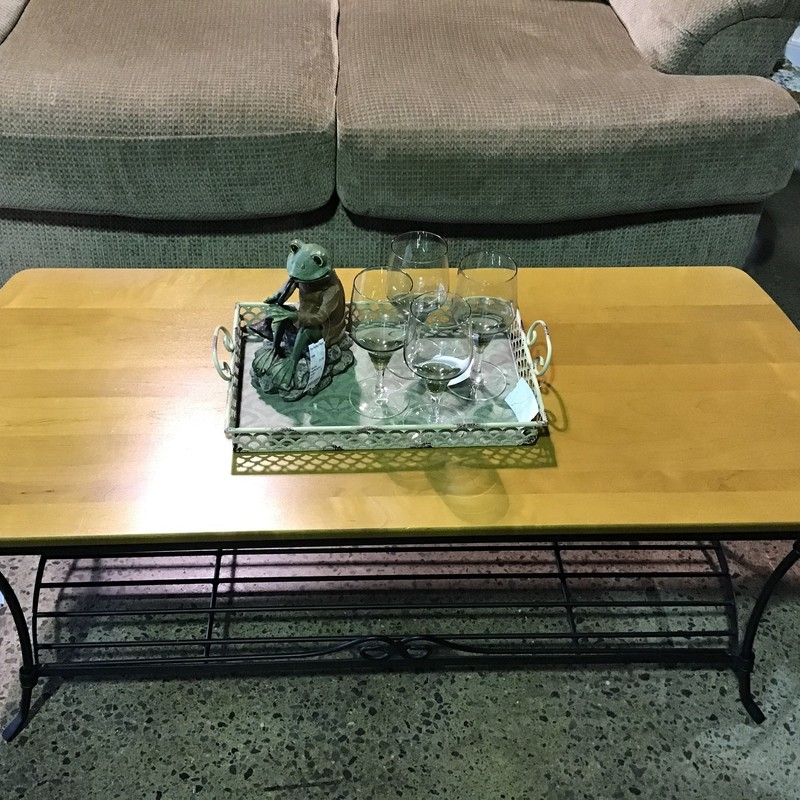"This beautifully crafted coffee table by Longaberger out of Dresden Ohio would make a great addition to your family room! It has a black iron base with lower shelf and a wood top. Very well made! There are also a pair of end tables, which are sold separately, available to complete this set.<br /> Dimensions are 44"" x 19"" x 17""."