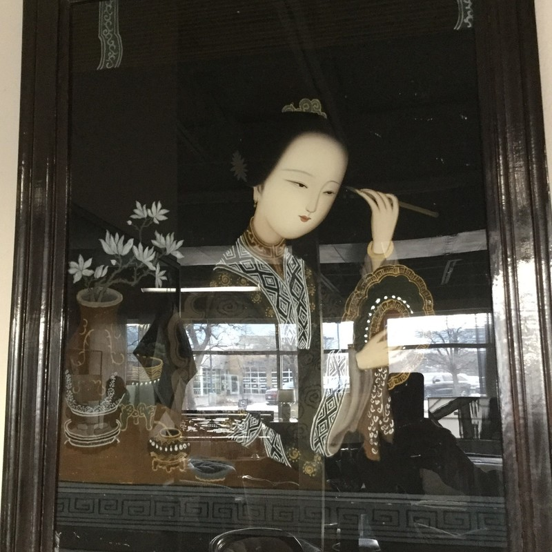 "Vintage Chinese Reverse Painting, Glass Lady, Size: 18.5"" x 24"""