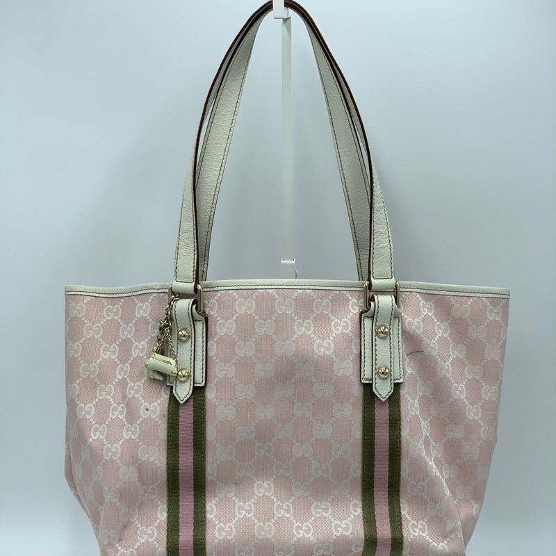 "Gucci GG Jolicouer Tote, Pink, Size: OS<br /> <br /> condition: GOOD. Some interior residue. minor staining on outside. wear on bottom<br /> <br /> 15.25""W x 8""H x 5.5""D<br /> 8.5"" handle drop<br /> <br /> We guarantee the authenticity of every bag on our site. Each bag comes with either an original sales receipt, original tags, or a Certificate of Authenticity from AuthenticateFirst.com. Established in 2013, AuthenticateFirst.com (http://authenticatefirst.com) is one of the premier authentication services in the US, providing authentications of designer handbags, wallets, small leather goods, footwear, jewelry, and accessories. They employ in-house experts who have decades of experience working with hundreds of luxury brands."