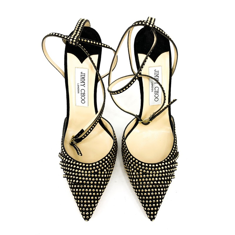 Jimmy Choo Black Suede Gold Stud Heels<br /> <br /> DETAILS<br /> - Black suede with gold studs all around<br /> - Half tassles on toe (as shown in photos)<br /> - Featuring some mesh detail as well<br /> - Ankle wrap straps<br /> - Point toe<br /> - Marked as 39 1/2, US size 9 1/2<br /> - Condition: EXCELLENT! Never worn! Soles and interior are clean<br /> <br /> MEASUREMENTS<br /> - 4 1/2 heel height
