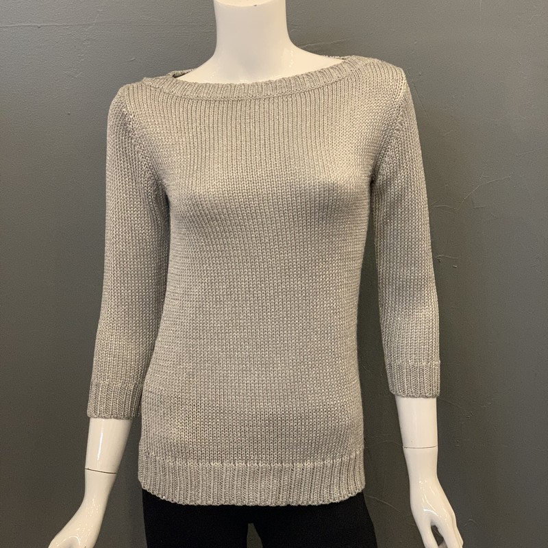 Ralph Lauren black label<br /> Metallic knit, Silver, Size: Small<br /> <br /> 80% acetate<br /> 10% polyester<br /> 10% polyamide