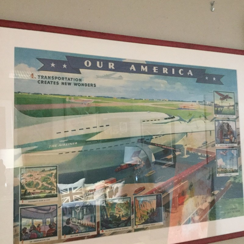"Our America Vintage Poster, Red Frame, Size: 37""x28"""