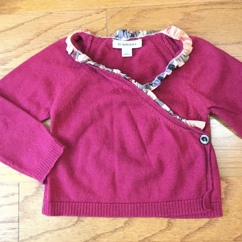 Burberry Wrap Sweater, Burgundy, Size: 2<br /> <br /> <br /> ALL ONLINE SALES ARE FINAL. NO RETURNS OR EXCHANGES.