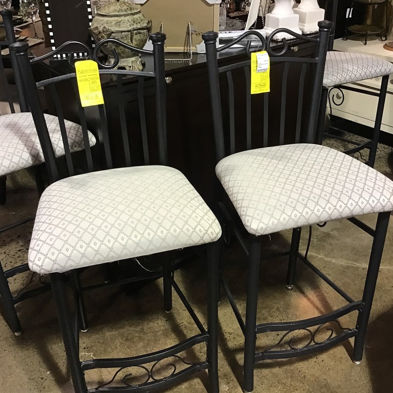 This set of 2 stools has an upholstered seat (black and white) and black metal frame. AND, they are really comfortable! Great addition to your kitchen island!<br /> Seat height is 28""