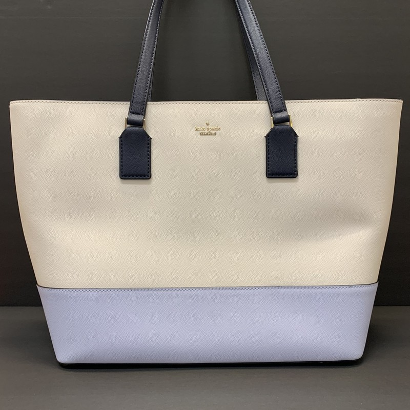 Kate Spade Saffiano Tote Bag<br /> White, Blue & Navy Leather