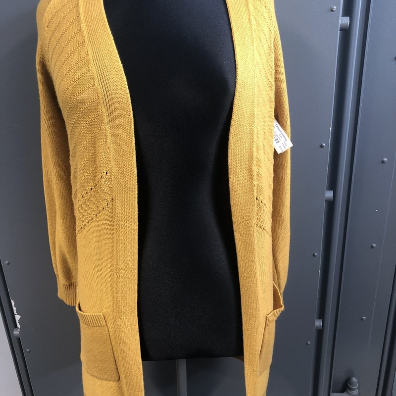 Long Cardi L/s Opn Frnt, Gold, Size: Small