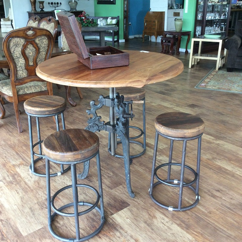 "This is a great set, so much personality and character! It's a beautiful combination of metal and wood. The table top and stools have a rough-hewn wood surface with distressing giving it a somewhat rustic appearance. The base of the table is iron. The best thing about this set is that the table is height adjustable giving it a range of 35"" - 48"". Come take a look, it won't be here long!"