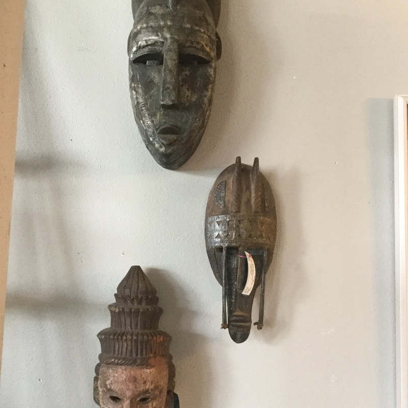 "East Indian Mask, Wood and Metal, Lots Available, Size: 26""H"