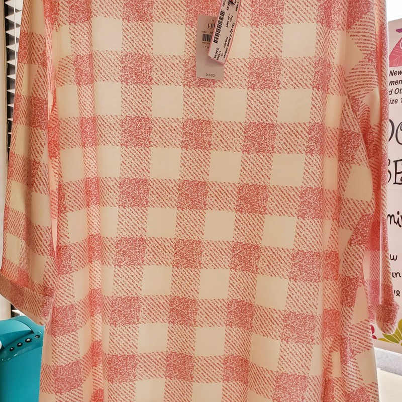 J Jill NWT Pink and white Check XL Top. Retail $69.00 our price $34.99