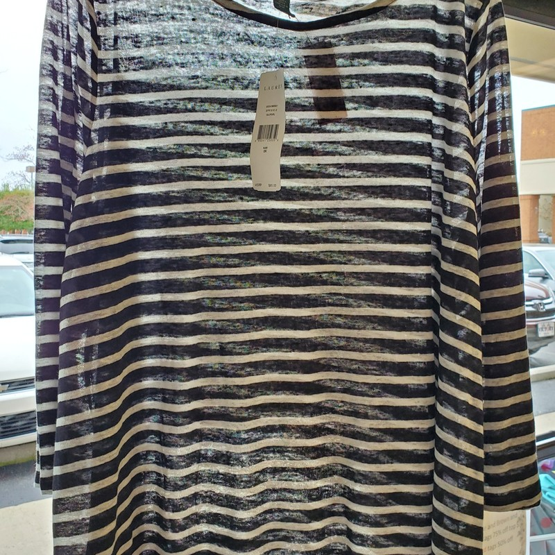 Ralph Lauren 2X NWT black and white stripe top. Retail $85.00 our price $41.99