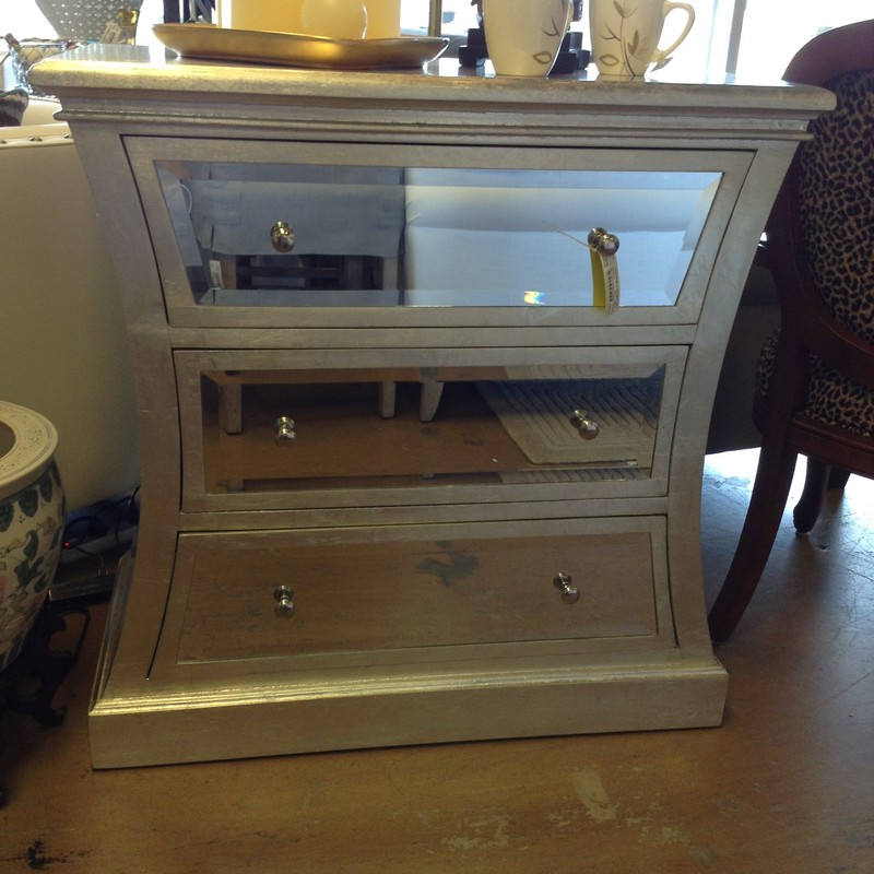 Mirrored 3 Drawer Console, 3ft L x 3ft H x 18 in D