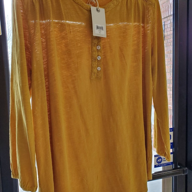 "Lucky Brand NWT, XL<br /> Mustard<br /> Retail $59.50 our price $29.99<br /> Aprox. 28"" length"