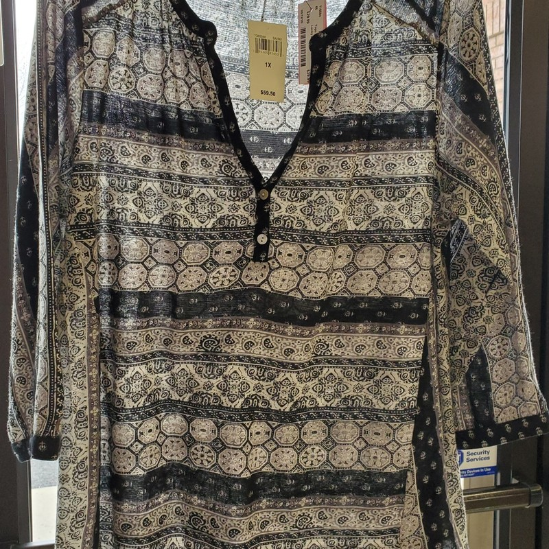 Lucky Brand NWT 1X, Black, gray and off white. Retail $59.50 our price $29.99