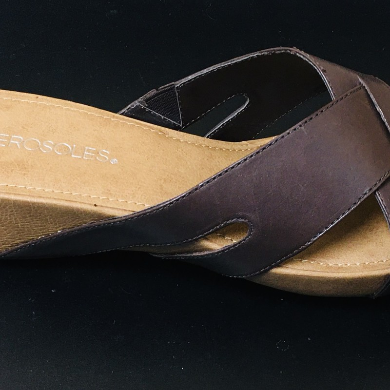 Aerosole Slides NEW, Brown, Size: 9