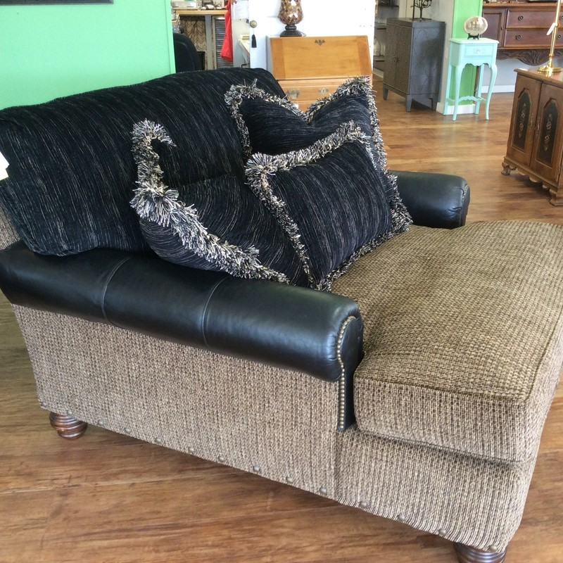 WOW, this is a beauty! It was originally purchased at Bartholet for over $2000, but it's available to you for only $695! The back cushion and the throw pillows also have an additional set of covers for them. Stop by and check out this cozy chaise (oversized chair?).