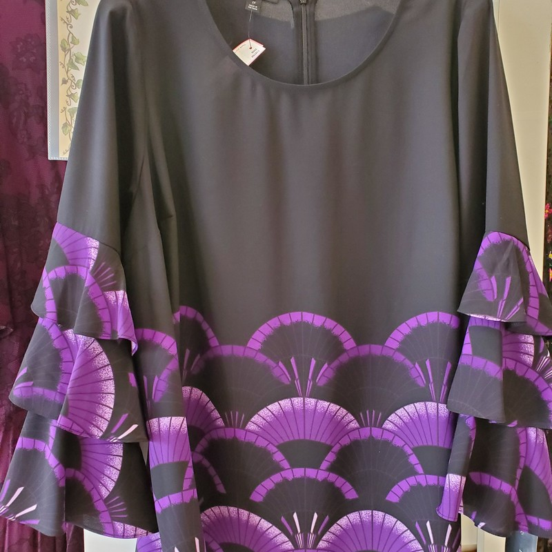 "Alfani NWT 2X<br /> Black with purple<br /> Ruffle trimmed sleeves<br /> Aprox. 29"" length"